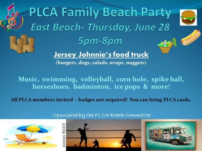 PLCA Family Beach Party