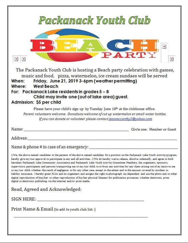 youth club beach party june 2019